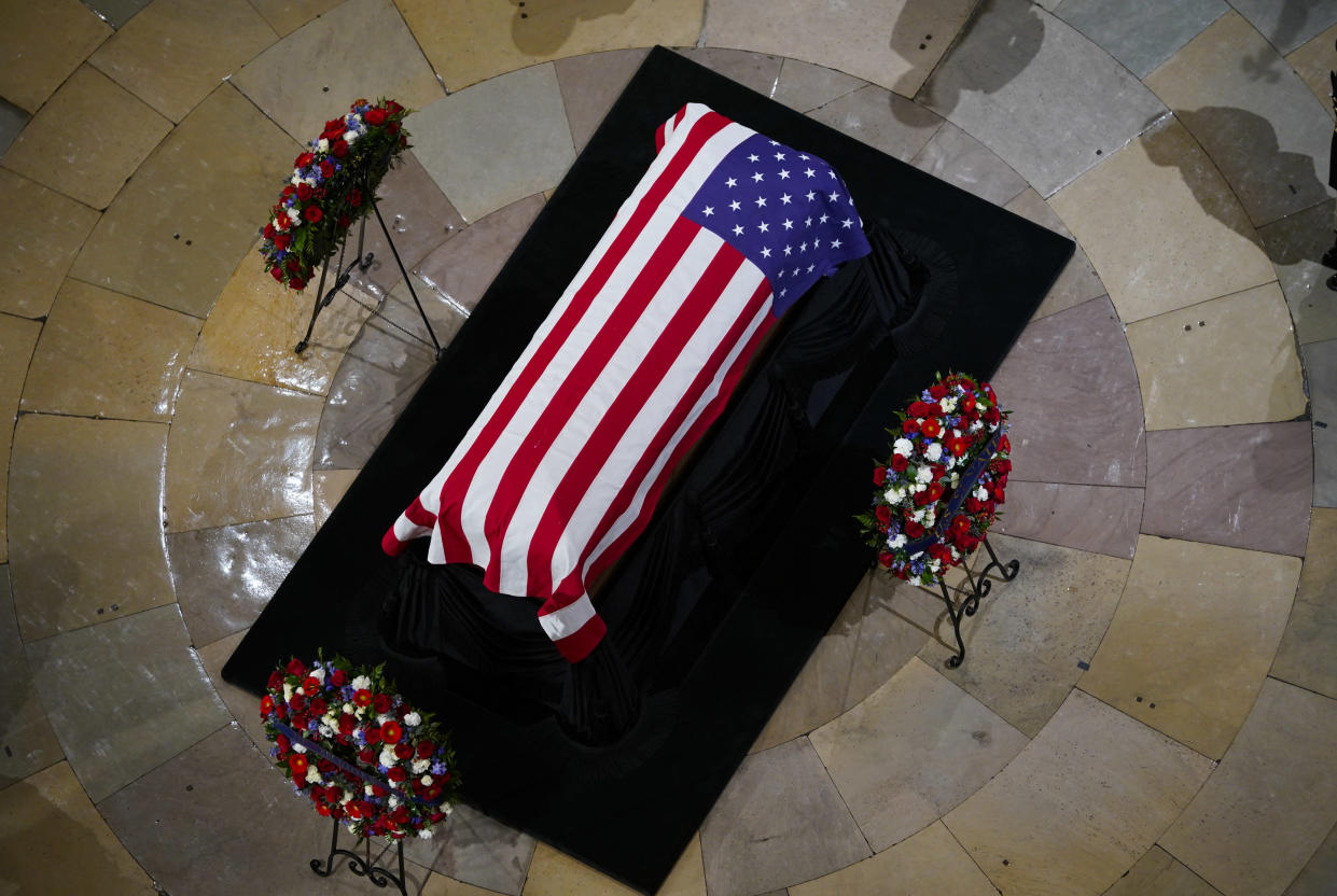 Former President George H. W. Bush lies in state in the U.S. Capitol Rotunda Monday, Dec. 3, 2018, in Washington. (AP Photo: Pablo Martinez Monsivais/AP)
