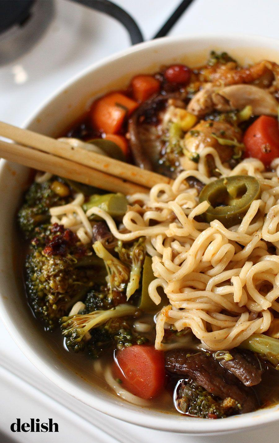 """<p>Use whatever you have!</p><p>Get the recipe from <a href=""""https://www.delish.com/cooking/recipe-ideas/a31915077/everything-is-optional-chicken-noodle-soup-recipe/"""" rel=""""nofollow noopener"""" target=""""_blank"""" data-ylk=""""slk:Delish."""" class=""""link rapid-noclick-resp"""">Delish.</a></p>"""