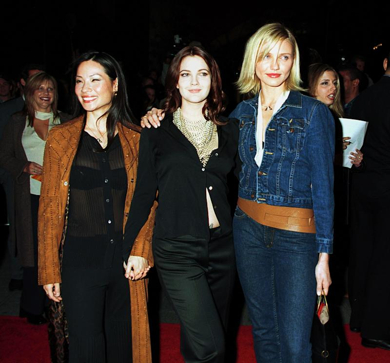Lucy Liu, Drew Barrymore, and Cameron Diaz at the screening of Charlie's Angels (2000).