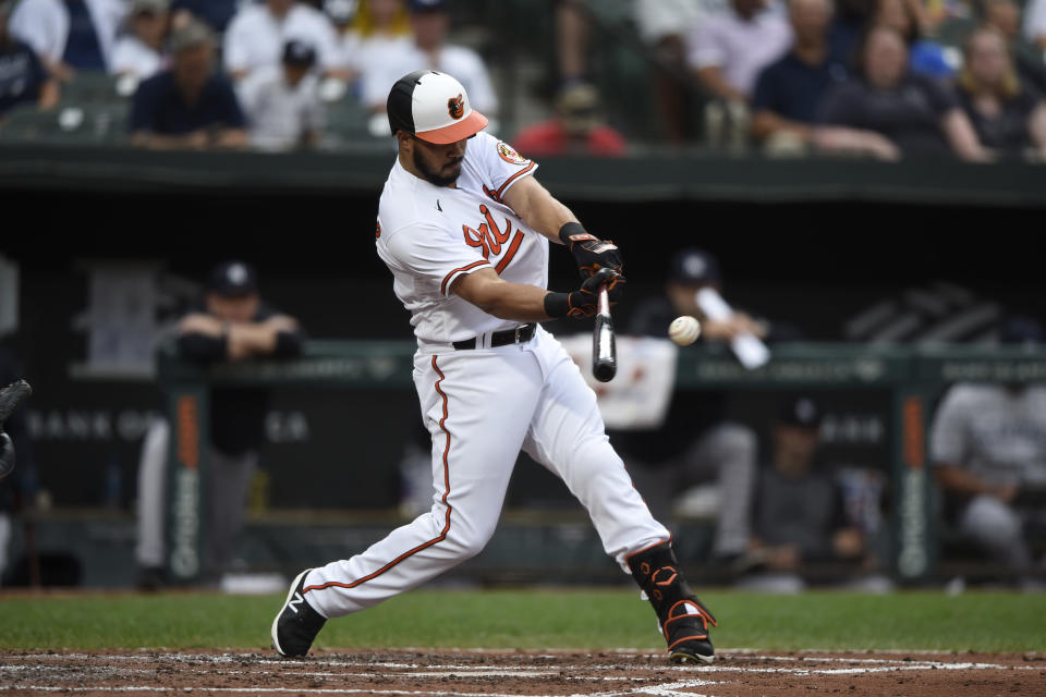 Baltimore Orioles' Anthony Santander connects for a single against the New York Yankees in the third inning of a baseball game Thursday, Sept. 16, 2021, in Baltimore. (AP Photo/Gail Burton)