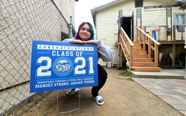 Johanna Lopez, 18, has balanced a fast-food job that pays around $450 per-week with attending class online