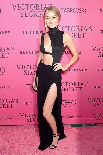 <p>Gigi Hadid wore a maxi skirt, turtleneck, and bra hybrid number for the after party. </p>