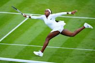 <p>Coco Gauff owns the court during her first round match at Wimbledon on June 29 at the All England Lawn Tennis and Croquet Club in London.</p>