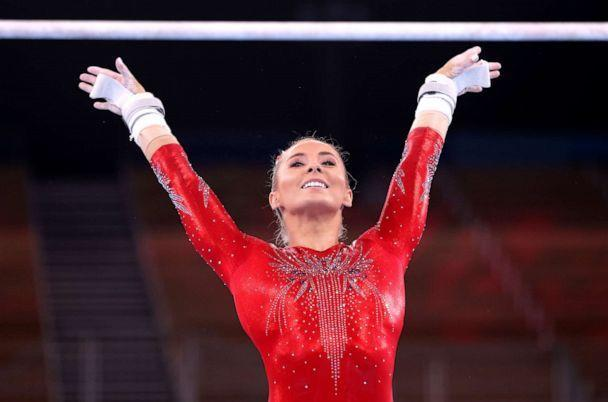 PHOTO: Mykayla Skinner of Team United States competes on uneven bars during Women's Qualification on day two of the Tokyo 2020 Olympic Games at Ariake Gymnastics Centre on July 25, 2021 in Tokyo, Japan. (Laurence Griffiths/Getty Images)