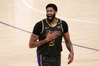 Los Angeles Lakers forward Anthony Davis celebrates after the Lakers defeated the Denver Nuggets 93-89 in a NBA basketball game Monday, May 3, 2021, in Los Angeles. (AP Photo/Mark J. Terrill)