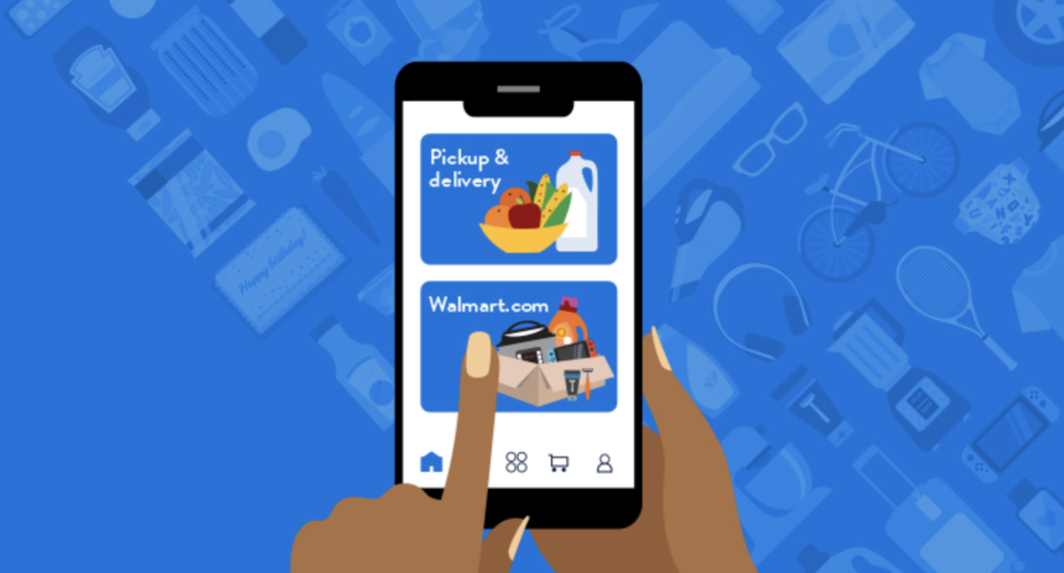 The Walmart app lets you order groceries for pickup or delivery. (Photo: Walmart)