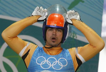 K.P. Keshavan of  ndia during a luge training run for the Vancouver 2010 Winter Olympics in Whistler, British Columbia