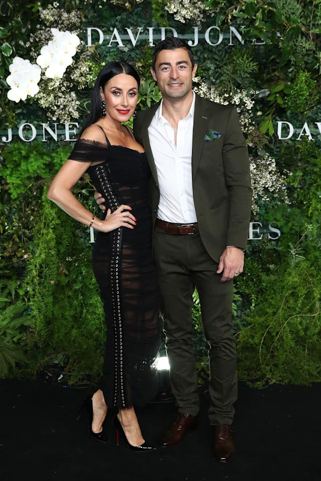 <p>Terry Biviano and Anthony Minichiello looked picture perfect as the loved-up couple posed on the black carpet. Photo: Getty Images </p>