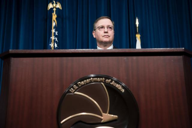 Acting Drug Enforcement Administration Administrator Chuck Rosenberg speaks about fentanyl at DEA headquarters on June 6. (BRENDAN SMIALOWSKI via Getty Images)
