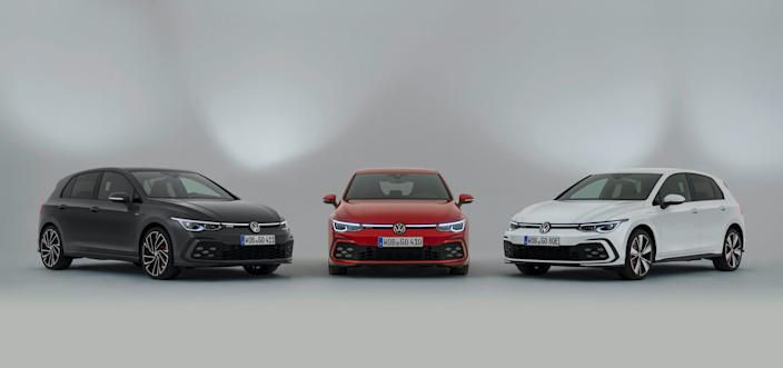Left_to_right_Golf_GTD_Golf_GTI_Golf_GTE Large 11026