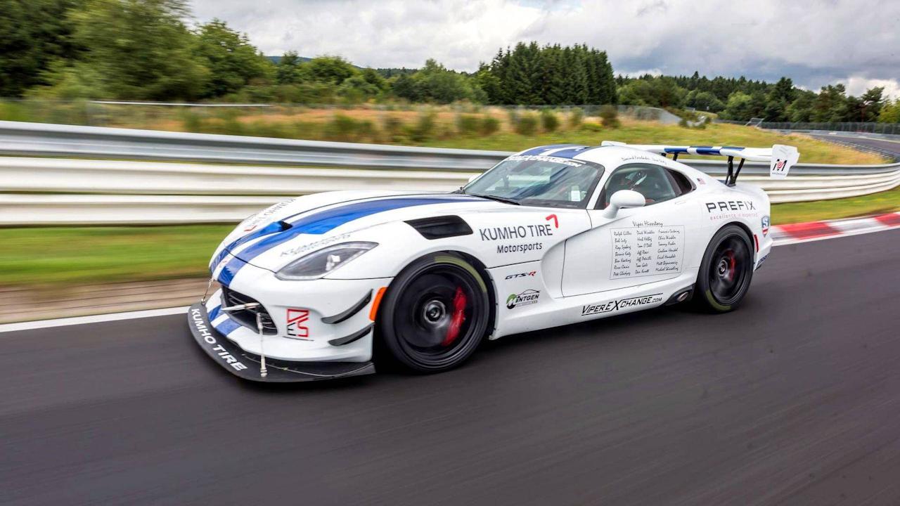"""<p>The model in charge of opening the list is the <a rel=""""nofollow"""" href=""""https://www.motor1.com/dodge/viper/"""">Dodge Viper</a> ACR-E, equipped with a spectacular aerodynamic package. However, it didn't manage to break the 7-minute barrier. Behind the wheel of the 650-hp (485-kW) beast was Dominik Farnbacher.</p>"""