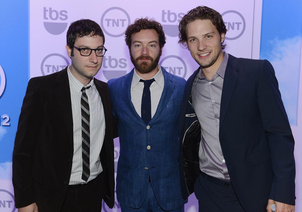 """Adam Busch, Danny Masterson, and Michael Cassidy (""""Men at Work"""") attend the TNT/TBS 2012 Upfront Presentation at Hammerstein Ballroom on May 16, 2012 in New York City."""