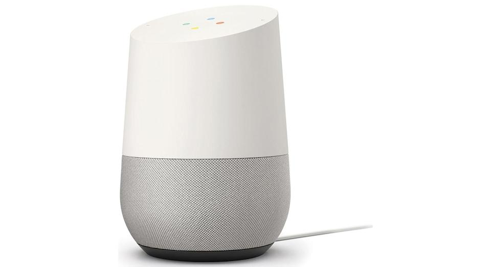 """Ever wanted your very own assistant? Google Home does exactly that. From weather, traffic, sports updates to discovering where the nearest Italian restaurant is, all you have to do is say: """"OK Google"""" and it will answer your commands. <a href=""""http://www.awin1.com/cread.php?awinaffid=580847&awinmid=1599&clickref=Christmas-tech&platform=dl&p=%5B%5Bhttps%3A%2F%2Fwww.currys.co.uk%2Fgbuk%2Fsmart-tech%2Fsmart-tech%2Fsmart-home%2Fvoice-control-assistants%2Fgoogle-home-white-10161441-pdt.html%3Fawc%3D1599_1568124426_6f2954fe46602bc1520a506f4411ff49%26srcid%3D369%26xtor%3DAL-1%26cmpid%3Daff~http%253A%252F%252Fwww%252Eyahoo%252Ecom~Direct%2520Traffic~580847~Yahoo%2521%23tab3%5D%5D"""" rel=""""nofollow noopener"""" target=""""_blank"""" data-ylk=""""slk:Shop now"""" class=""""link rapid-noclick-resp""""><strong>Shop now</strong></a><strong>.</strong>"""