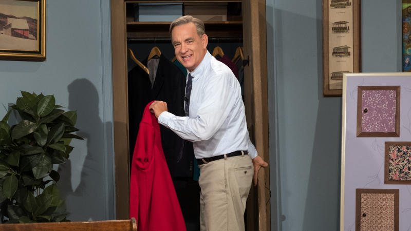 Tom Hanks as TV icon Mister Rogers in 'A Beautiful Day in the Neighborhood'. (Credit: Sony)