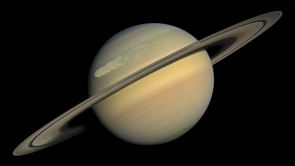 <p>In summer, Saturn will move into its closest position to Earth, giving us the best view possible. A telescope will be needed to see the huge planet's famous rings while Saturn is fully lit up by the sun. (NASA) </p>