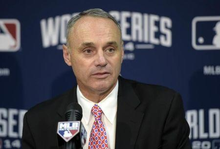 Oct 22, 2014; Kansas City, MO, USA; MLB commissioner Rob Manfred speaks at a press conference before game two of the 2014 World Series between the Kansas City Royals and the San Francisco Giants at Kauffman Stadium. Mandatory Credit: Christopher Hanewinckel-USA TODAY Sports