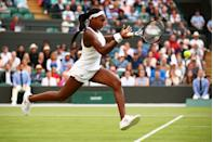 Cori Gauff of the United States plays a backhand in her Ladies' Singles first round match against Venus Williams of The United States during Day one of The Championships - Wimbledon 2019 at All England Lawn Tennis and Croquet Club on July 01, 2019 in London, England. (Photo by Clive Brunskill/Getty Images)