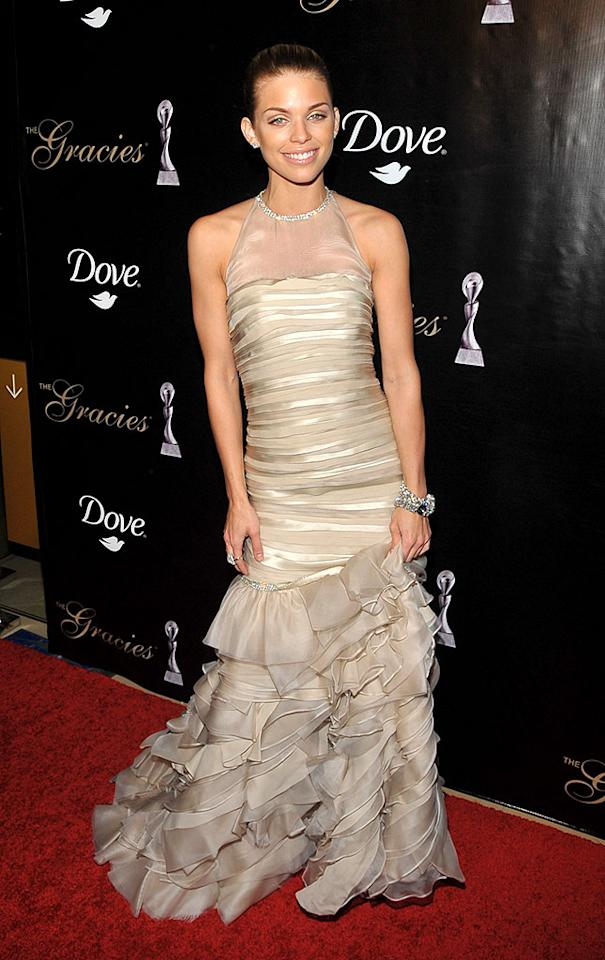 """""""90210"""" minx AnnaLynne McCord oozed glamour at the Alliance For Women In Media's 2010 Gracie Awards in an awesome Alice & Olivia by Stacey Bendet gown, which featured layered silks, ruffled detailing, and crystal embellishments. Dr. Billy Ingram/<a href=""""http://www.wireimage.com"""" target=""""new"""">WireImage.com</a> - May 25, 2010"""