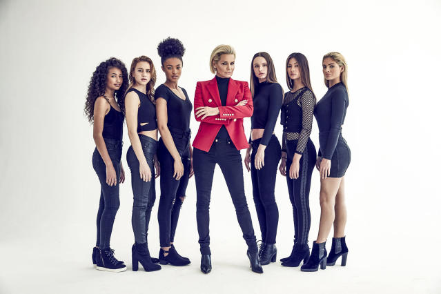 From left: Athena, Lilyan, Mikayla, Yolanda Hadid, Makenzie, Breanna, and Carrington star in <em>Making a Model With Yolanda Hadid</em>. (Photo: Nils Ericson)