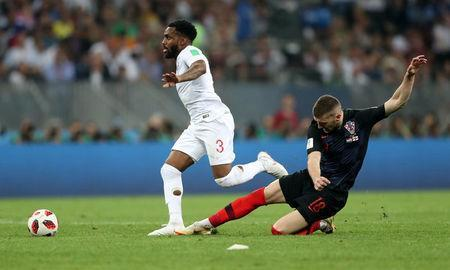Soccer Football - World Cup - Semi Final - Croatia v England - Luzhniki Stadium, Moscow, Russia - July 11, 2018 England's Danny Rose in action with Croatia's Ante Rebic REUTERS/Carl Recine