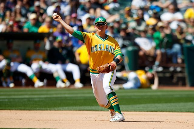 Oakland's Ryon Healy has 11 home runs for the A's in 60 games. (Getty Images)