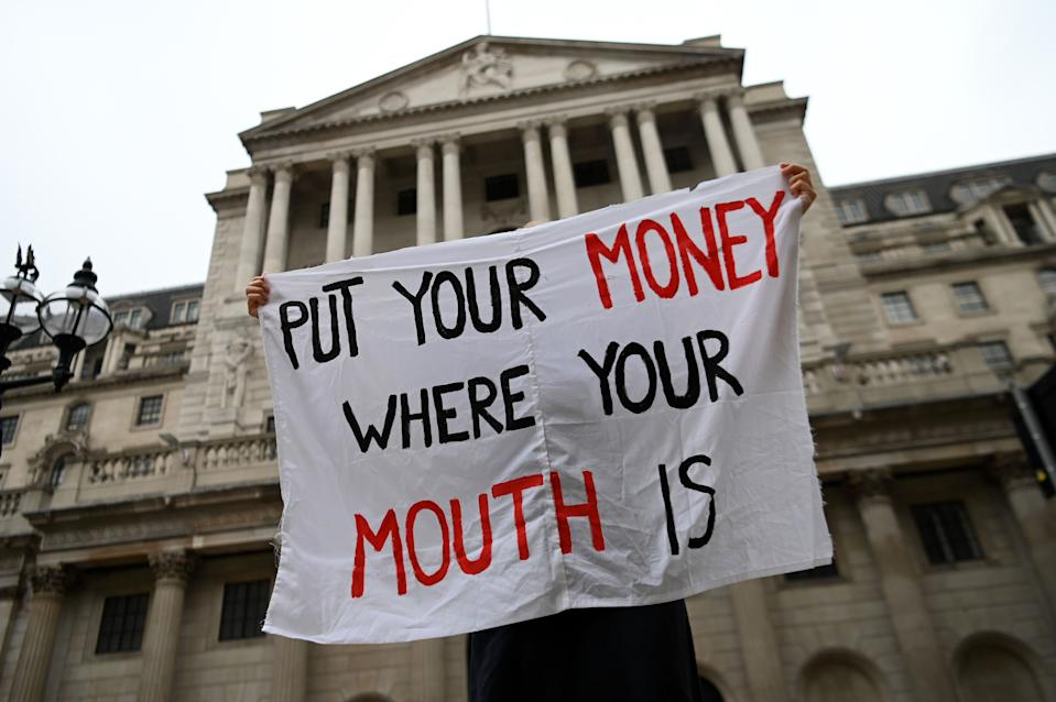 Climate protesters outside the Bank of England in central London on 6 August 2020. Photo: Daniel Leal-Olivas/AFP via Getty