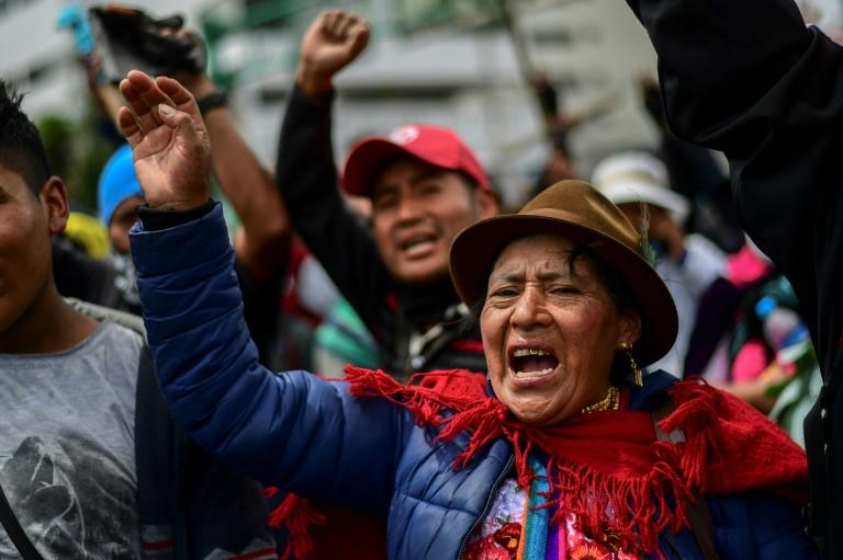 Indigenous people demonstrate outside the House of Culture in Quito
