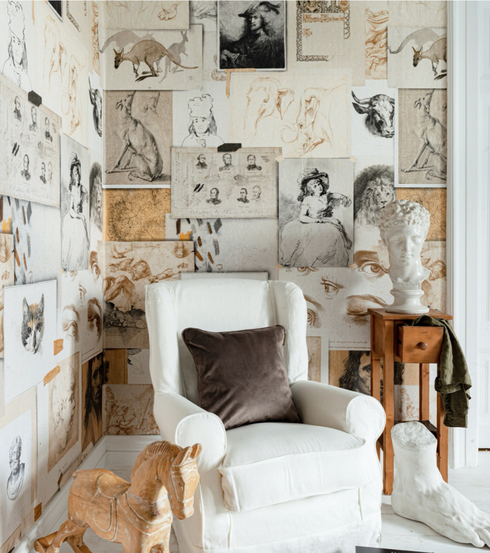"""<p>The creative mood boards adorning many artists' studios are in reality not easy to replicate. This wallpaper from Mind the Gap does the artistic legwork for you. Perfect for a study or conservatory, or wherever inspiration is needed. </p><p>Pictured: <a href=""""https://mindtheg.com/uk/products/wallpaper/the-mood-board-wallpaper.html?___SID=U"""" rel=""""nofollow noopener"""" target=""""_blank"""" data-ylk=""""slk:Mood Board"""" class=""""link rapid-noclick-resp"""">Mood Board</a>, Mind the Gap</p>"""