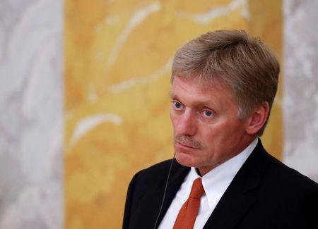 FILE PHOTO: Kremlin spokesman Peskov attends a news conference of Russian President Putin and his French counterpart Macron in St. Petersburg