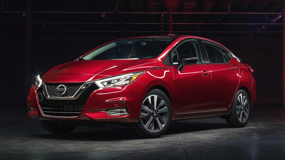 """<p><strong>Score: 6.3 / 10</strong></p> <p>The new <a href=""""https://www.motor1.com/reviews/395660/2020-nissan-versa-sr-review/"""" rel=""""nofollow noopener"""" target=""""_blank"""" data-ylk=""""slk:Nissan Versa"""" class=""""link rapid-noclick-resp"""">Nissan Versa</a> is our favorite subcompact sedan of 2020. It's a stylish and safe small car that comes standard with front and rear automatic emergency braking – the only one in its class so equipped. The Versa also offers Nissan's advanced Safety Shield 360 as an option, so it gets 6.3 out of 10 stars on our scale, the highest of any subcompact we've tested.</p> <br><a href=""""https://www.motor1.com/reviews/363435/2020-nissan-versa-first-drive/"""" rel=""""nofollow noopener"""" target=""""_blank"""" data-ylk=""""slk:2020 Nissan Versa First Drive: Safety First"""" class=""""link rapid-noclick-resp"""">2020 Nissan Versa First Drive: Safety First</a><br><a href=""""https://www.motor1.com/reviews/395660/2020-nissan-versa-sr-review/"""" rel=""""nofollow noopener"""" target=""""_blank"""" data-ylk=""""slk:2020 Nissan Versa SR Review: Safe And Stylish Subcompact"""" class=""""link rapid-noclick-resp"""">2020 Nissan Versa SR Review: Safe And Stylish Subcompact</a><br>"""