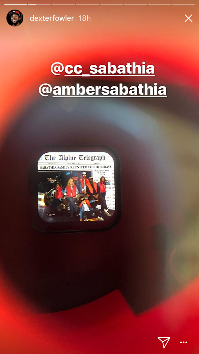 CC Sabathia put his family's Christmas photos on a View-Master reel and send them as his Christmas cards. (Snapchat)