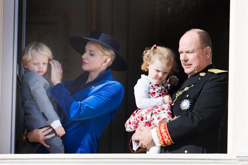 Prince Jacques and Princess Gabriella were snapped clinging to their parents as they appeared on the royal balcony at the Prince's Palace of Monaco. Photo: Getty Images