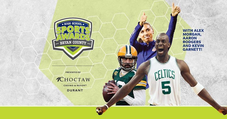NBA Champion and MVP Kevin Garnett joins celebrity athletes, including Alex Morgan and Aaron Rodgers, announcing the winners of the Bryan County High School Sports Awards.