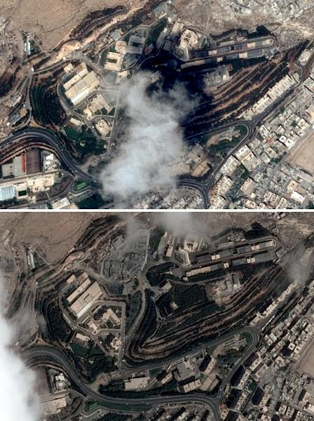 This combination of pictures created with satellite images shows the Scientific Studies and Research Centre (SSRC) compound in the Barzeh district, north of Damascus, before and after it was struck in Western air raids on Saturday (AFP Photo/Handout)