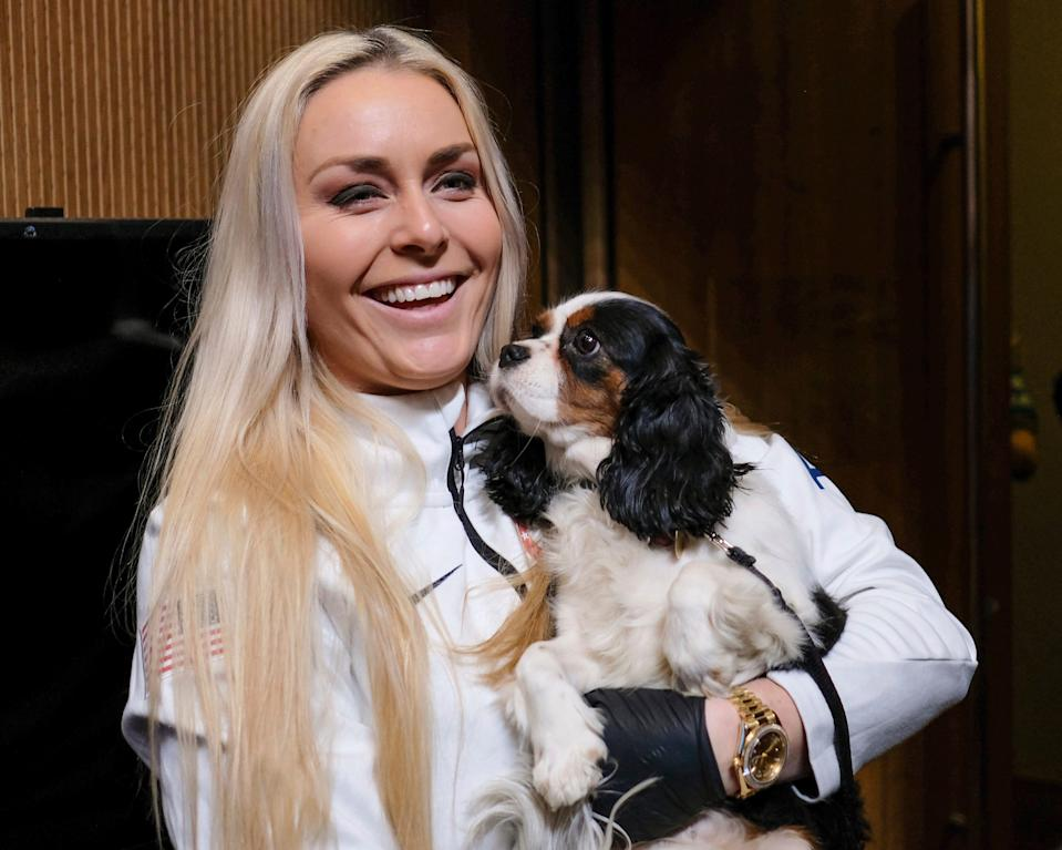 Lindsey Vonn holds her dog Lucy after a news  conference at the 2018 Winter Olympics in Pyeongchang, South Korea, on Feb. 9.