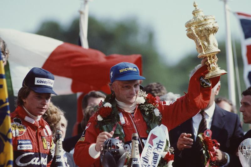 Niki Lauda celebrates after winning the Marlboro British Grand Prix in 1982