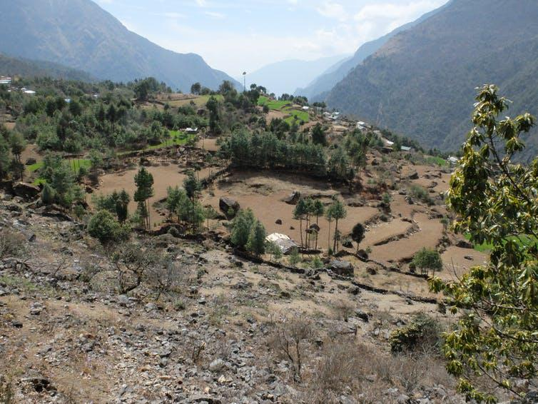 """<span class=""""caption"""">Dry fields in the Khumbu valley in Nepal before the summer monsoon.</span> <span class=""""attribution""""><span class=""""source"""">Ann Rowan</span>, <span class=""""license"""">Author provided</span></span>"""