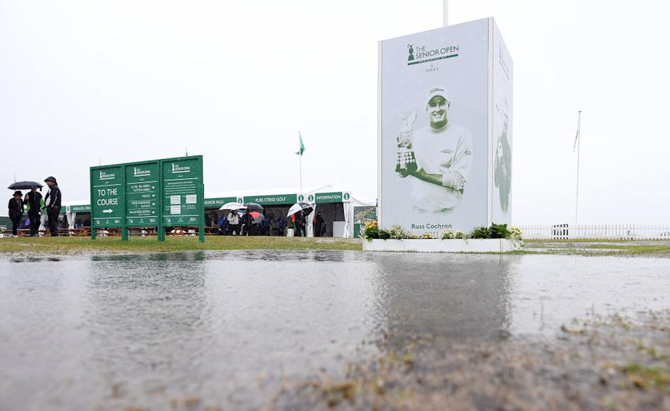 Heavy rain and course flooding delay the start to the final round of the Senior Open at Royal Lytham & St. Annes on July 28, 2019 in Lytham St Annes, England (Picture: Getty)