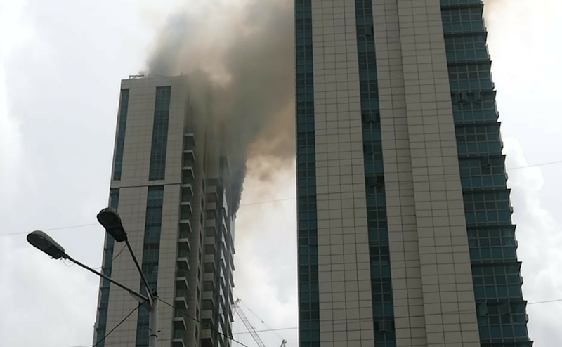 Residents in the C-wing started screaming when the fire broke out, which is how the residents in the B-wing found out about the incident. All residents have been evacuated. Image courtesy: Nevin Thomas