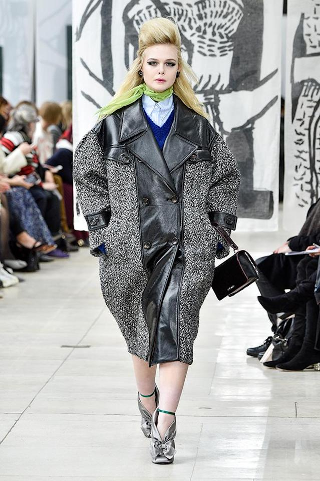 <p>Work it! The actress showed off some killer catwalk chops on Tuesday, as she owned the runway at the Miu Miu show, during Paris Fashion Week Womenswear Fall/Winter 2018/2019. (Photo: Peter White/Getty Images) </p>