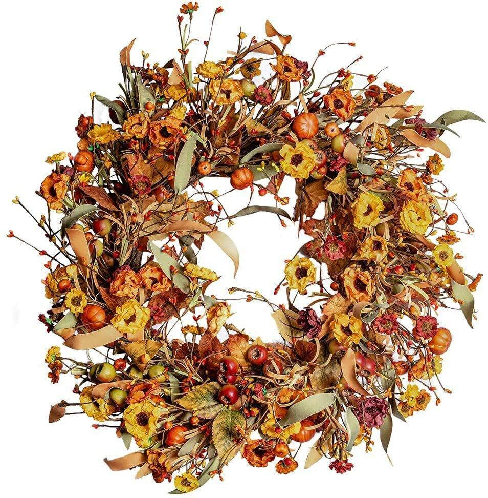 Floral Wreath with Berries and Pumpkins