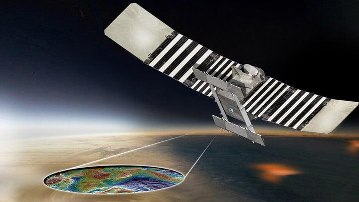 This artist's concept shows the proposed VERITAS spacecraft using its radar to produce high-resolution maps of Venus' topographic and geologic features.