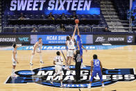 Gonzaga and Creighton tipoff in the first half of a Sweet 16 game in the NCAA men's college basketball tournament at Hinkle Fieldhouse in Indianapolis, Sunday, March 28, 2021. (AP Photo/AJ Mast)