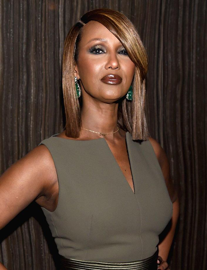 Model Iman attends Harper's BAZAAR 150th Anniversary Event presented with Tiffany & Co at The Rainbow Room on April 19, 2017 in New York City.