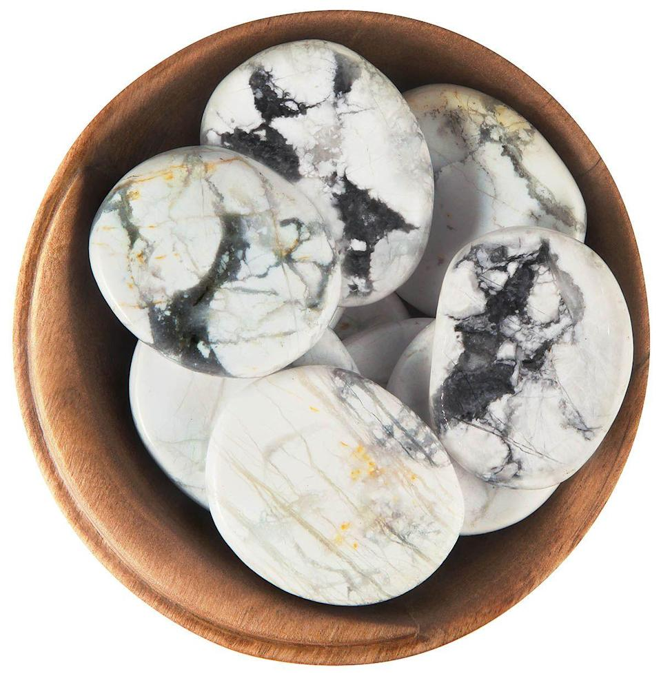 "<p>moonrisecrystals.com</p><p><strong>$13.25</strong></p><p><a href=""https://moonrisecrystals.com/tumbled-stones/howlite/"" rel=""nofollow noopener"" target=""_blank"" data-ylk=""slk:Shop Now"" class=""link rapid-noclick-resp"">Shop Now</a></p><p>Having trouble falling asleep? This calming stone promotes better sleep by reducing stress and quieting an overactive mind. Reach for this bb when you need to invoke a sense of peace.</p>"