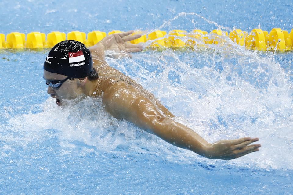 Joseph Schooling en route to winning Singapore's first gold medal in the men's 100m butterfly final at the 2016 Rio de Janeiro Olympics.