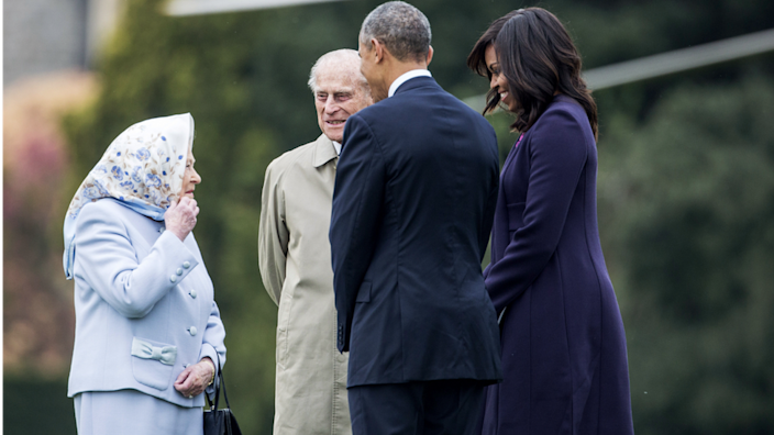 Barak and Michelle Obama at Windsor Castle for a private lunch in 2016