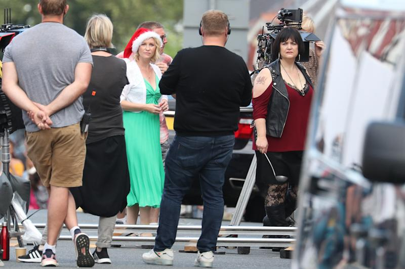 (third left to right) Joanna Page, James Corden and Ruth Jones during filming for the Gavin and Stacey Christmas special at Barry in the Vale of Glamorgan, Wales.