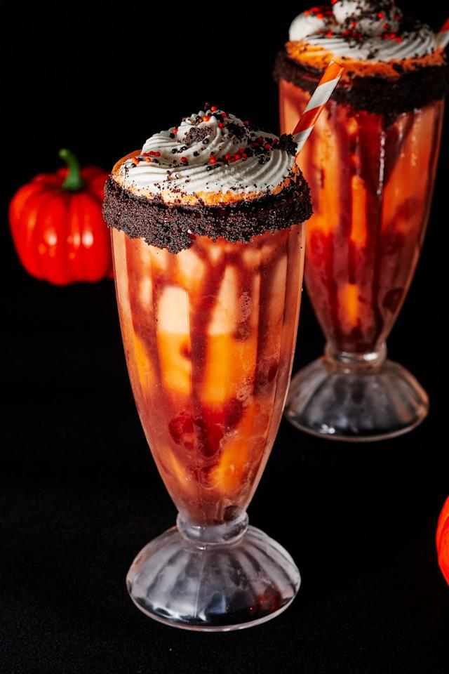 """<p>Time to get BOO-zy.</p><p>Get the recipe from <a href=""""https://www.delish.com/holiday-recipes/halloween/a29007809/boozy-screamsicle-shakes-recipe/"""" target=""""_blank"""">Delish</a>.</p>"""