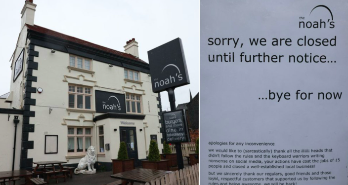 The Noah's posted a note on the door announcing their closure just weeks after they opened up again. (Reach)
